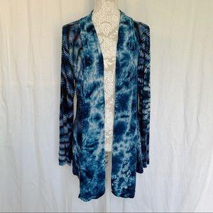 Soft Surroundings // Blue White Tie Dye Lightweight Cardigan M